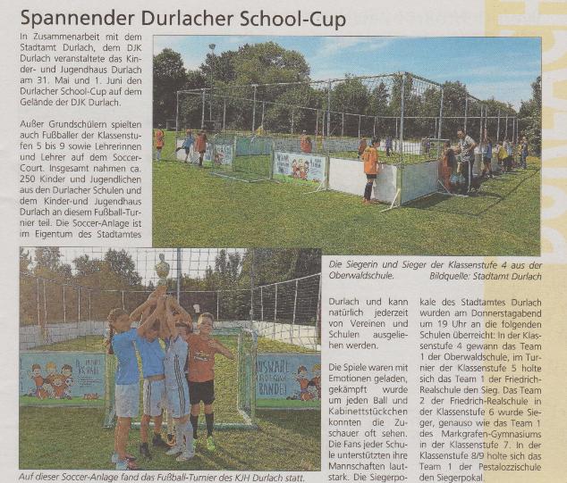 1. Durlach school-cup – DJK organisiert street-soccer Turnier für die Durlacher Schulen